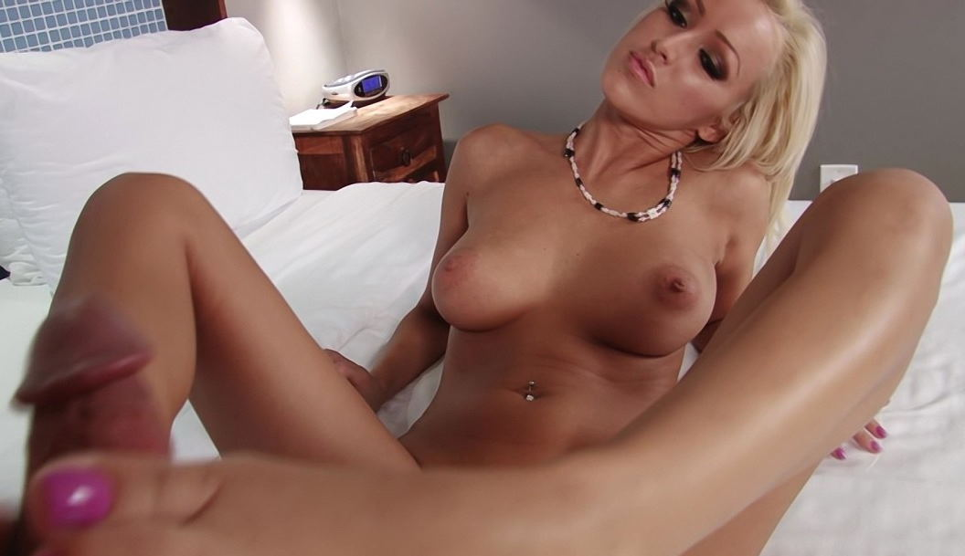 Busty blonde pleases my hard cock with foot