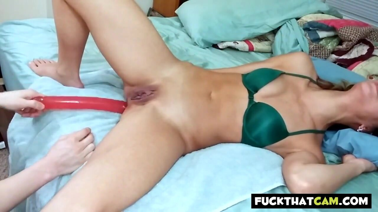 Asian Fucktoy Takes Painal Dildo Pushes Belly Bulge Out FMJ 3
