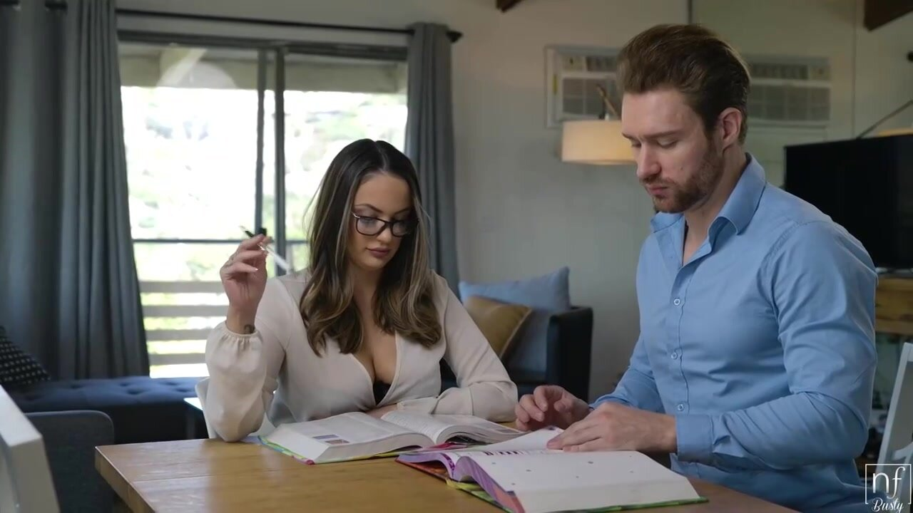 Busty brunette with glasses, Sofi Ryan is having casual sex with a guy from the neighborhood