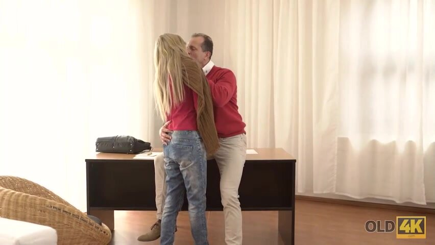 Seductive blonde is often secretly having sex with her married neighbor, in his living room