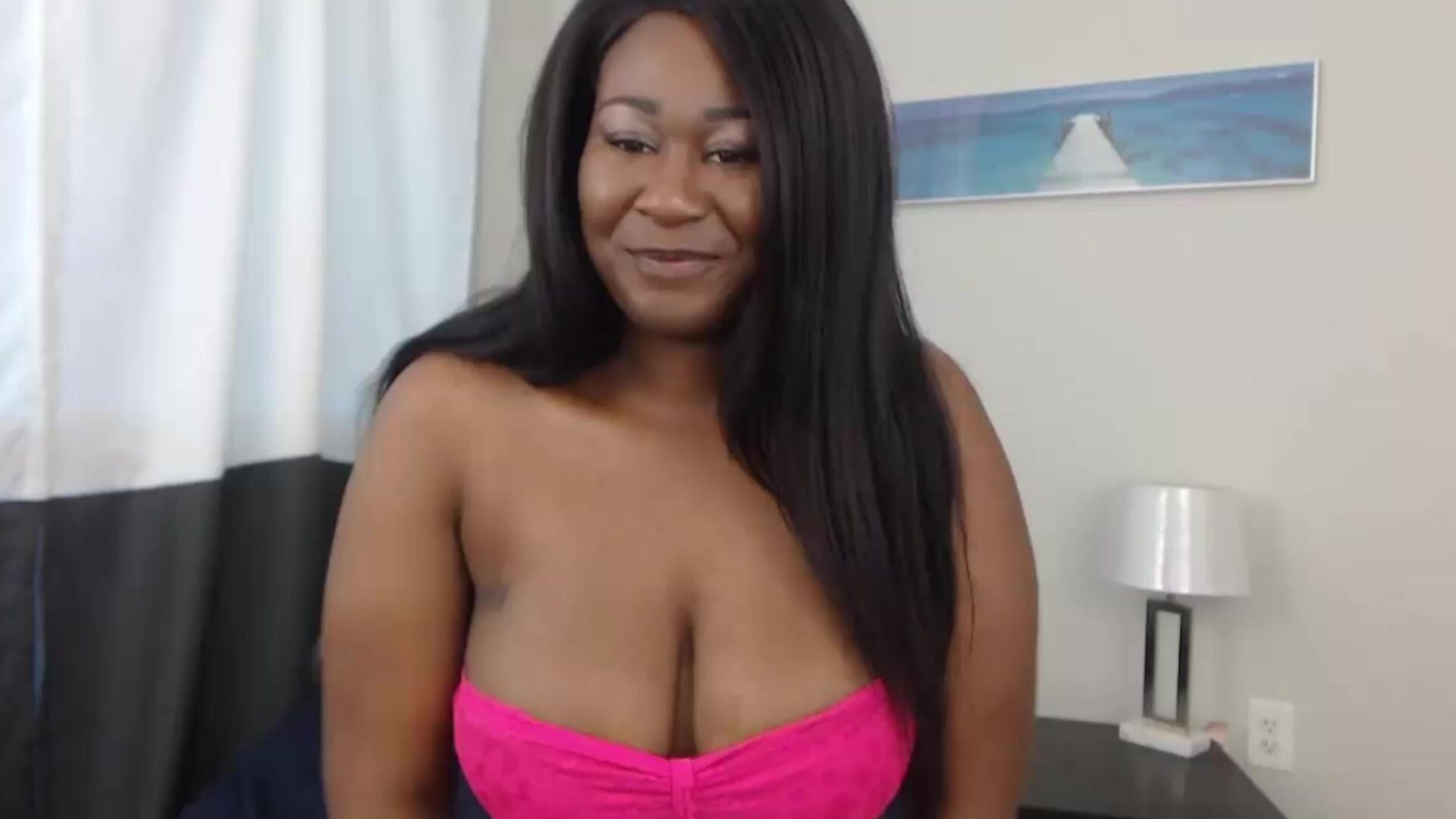 Adorable busty ebony babe with juicy butt and slim waist