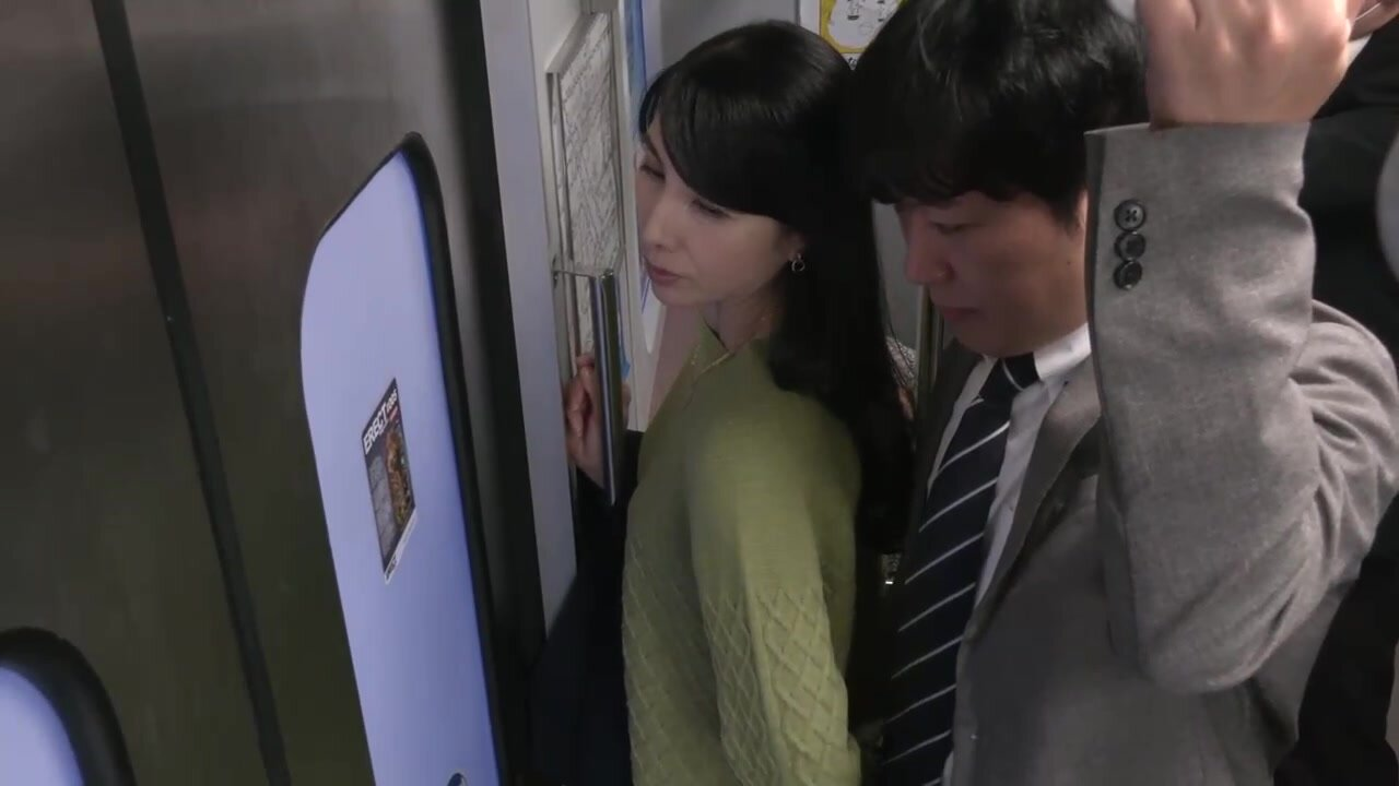Japanese woman is being molested in the public transport and it looks like she likes it
